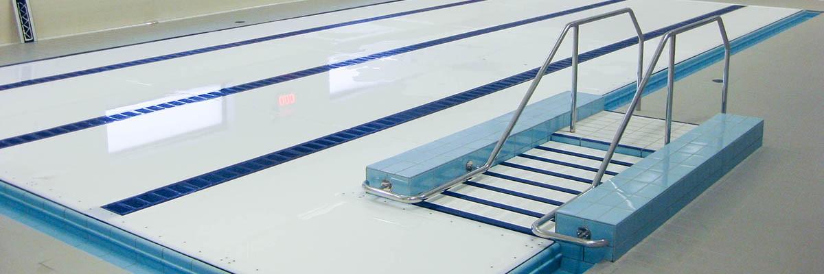integrated stairs, RVS trap in zwembad, geïntegreerde zwembadtrap, zwembadtrap